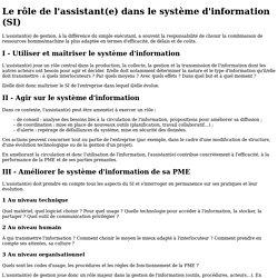 Fiche ressource - Le rôle de l'assistant(e) dans lesystème d'information (SI)