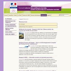 Conseil national des politiques de lutte contre la pauvreté et l'exclusion sociale (ressources)