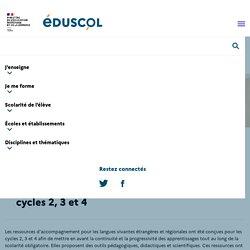 Ressources d'accompagnement pour les langues vivantes étrangères et régionales aux cycles 2, 3 et 4