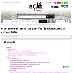 Programme et ressources pour l'agrégation interne et externe 2020 — Allemand