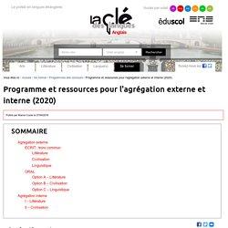 Programme et ressources pour l'agrégation externe et interne (2020)