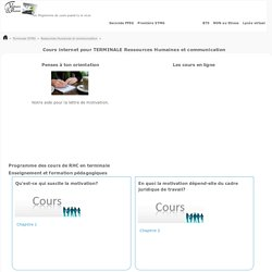 Ressources Humaines et communication COURS e-learning TERMINALE STMG.