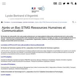 Après un Bac STMG Ressources Humaines et Communication - Lycée Bertrand d'Argentré VITRE