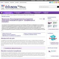 Éducation musicale - Ressources EM C4 Compétences évaluation