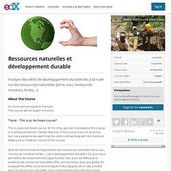LouvainX: Louv4.01x: Ressources naturelles et developpement durable
