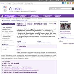 Programme et ressources pour le cycle 1 - Mobiliser le langage dans toutes ses dimensions