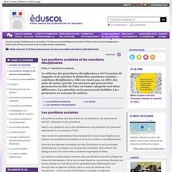 Ressources sur les nouvelles sanctions disciplinaires - Les punitions scolaires et les sanctions disciplinaires