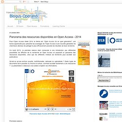 Panorama des ressources disponibles en Open Access - 2014