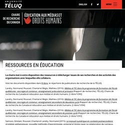 Ressources en éducation - Chaire de recherche du Canada en éducation aux médias et droits humains
