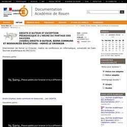 [Vidéo] Droits d'auteur, biens communs et ressources éducatives - Hervé Le Crosnier