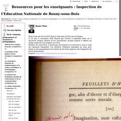 Ressources pour les enseignants : Inspection de l'Education Nationale de Rosny-sous-Bois - René Char