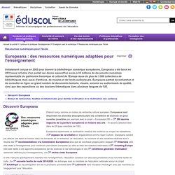 Ressources numériques pour l'école - Europeana : des ressources numériques adaptées pour l'enseignement
