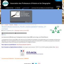 Ressources Eduscol pour l'Enseignement Moral et Civique