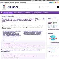 Ressources SVT C4 mettre en oeuvre son enseignement thème 3