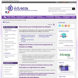 Français - Ressources pour l'enseignement du français