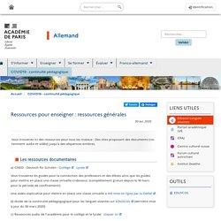 Continuité pédagogique Allemand - Académie de Paris