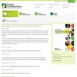 Formation semi-privée en gestion des ressources humaines » EnviroCompétences
