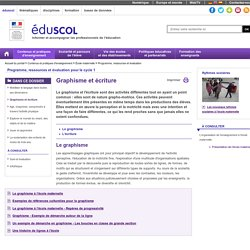 Programme, ressources et évaluation - Graphisme et écriture