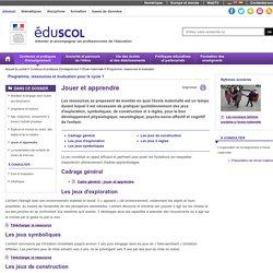 Programme, ressources et évaluation - Jouer et apprendre