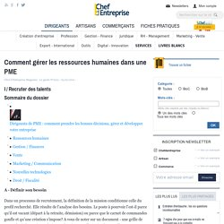 Comment gérer les ressources humaines dans une PME - Les fondamentaux TPE - PME