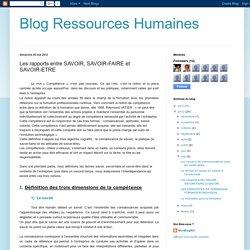 Blog Ressources Humaines: Les rapports entre SAVOIR, SAVOIR-FAIRE et SAVOIR-ETRE