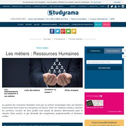 Fiches Métiers : Ressources Humaines - Studyrama.com
