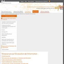 Ressources sur l'évaluation de l'information