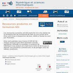 Ressources produites en formation NSI - Numérique et sciences informatiques