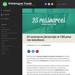 25 ressources CSS et plugins Javascript pour vos interfaces