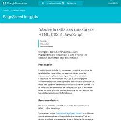Réduire la taille des ressources HTML, CSS et JavaScript