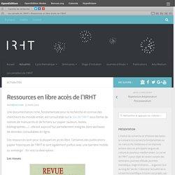 Ressources en libre accès de l'IRHT – Les carnets de l'IRHT