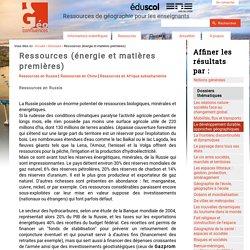 Ressources (énergie et matières premières)