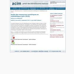 Guide des ressources numériques en médiathèque (juin 2010)