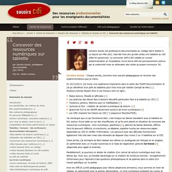 Savoirs CDI: Concevoir des ressources numériques sur tablette
