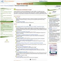 Ressources numériques en ligne - Usages du numérique éducatif