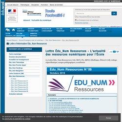 Lettre Édu_Num Ressources - L'actualité des ressources numériques pour l'École