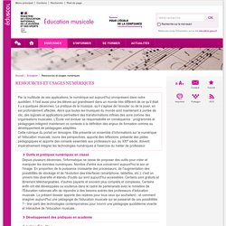 Ressources et usages numériques-Éducation musicale-Éduscol
