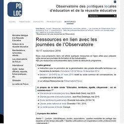 Ressources en lien avec les journées de l'Observatoire — Observatoire de la Réussite Educative
