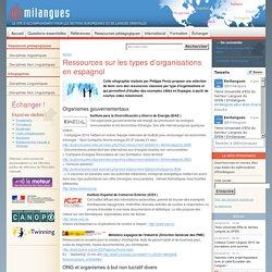 Ressources sur les types d'organisations en espagnol