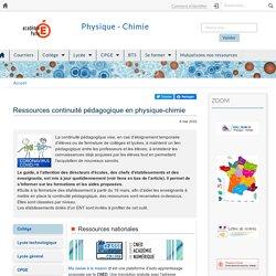 Ressources continuité pédagogique en physique-chimie