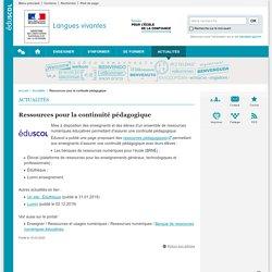 Ressources pour la continuité pédagogique-Langues vivantes-Éduscol