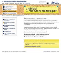 Le babillard des ressources pédagogiques: Élaborer les activités d'évaluation formative