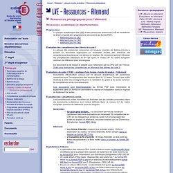 DSDEN 89 - LVE - Ressources pédagogiques allemand