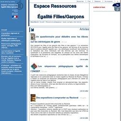 Espace Ressources Égalité Filles/Garçons - Ressources pédagogiques: expos, ouvrages, sites internet...