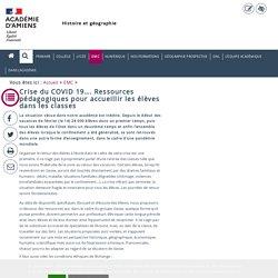 EMC > Crise du COVID 19…. Ressources pédagogiques pour accueillir les élèves dans les classes