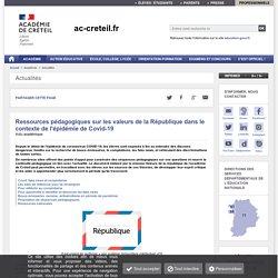 Ressources pédagogiques sur les valeurs de la République dans le contexte de l'épidémie de Covid-19