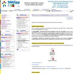 Ressources pédagogiques pour la maison (Covid-19) - SNUipp-FSU 34