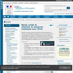 Myriaé, portail de recherche de ressources numériques pour l'École — Philosophie
