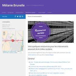 Ressources pour les intervenants - Mélanie Brunelle