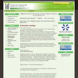 Site du Centre de ressources sur la non-violence et la prévention de la violence - Ni diversité, ni tactique